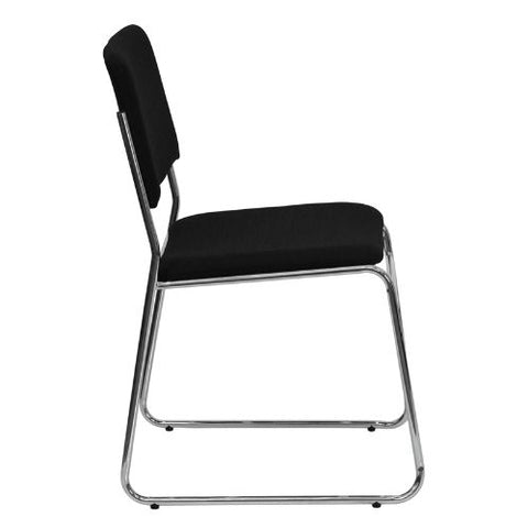 Flash Furniture HERCULES Series 1000 lb. Capacity Black Fabric High Density Stacking Chair with Chrome Sled Base XU8700CHRB30GG ; Image 2 ; UPC 847254008242
