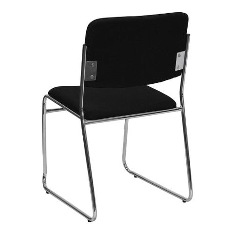 Flash Furniture HERCULES Series 1000 lb. Capacity Black Fabric High Density Stacking Chair with Chrome Sled Base XU8700CHRB30GG ; Image 3 ; UPC 847254008242