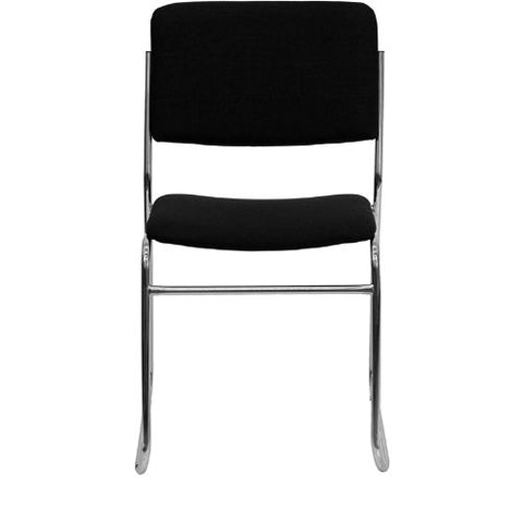 Flash Furniture HERCULES Series 1000 lb. Capacity Black Fabric High Density Stacking Chair with Chrome Sled Base XU8700CHRB30GG ; Image 4 ; UPC 847254008242