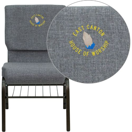 Flash Furniture Embroidered HERCULES Series 18.5''W Church Chair in Gray Fabric with Book Rack - Gold Vein Frame XUCH60096BEIJINGGYBASEMBGG ; Image 1 ; UPC 847254050500