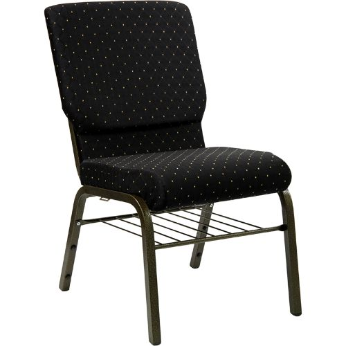 Flash Furniture HERCULES Series 18.5''W Church Chair in Black Dot Patterned Fabric with Book Rack - Gold Vein Frame XUCH60096BKBASGG ; Image 1 ; UPC 812581012637
