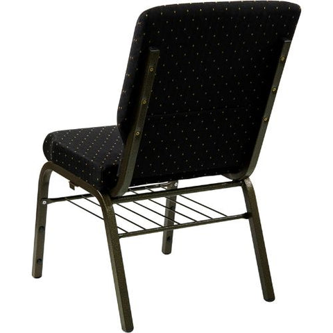 Flash Furniture HERCULES Series 18.5''W Church Chair in Black Dot Patterned Fabric with Book Rack - Gold Vein Frame XUCH60096BKBASGG ; Image 3 ; UPC 812581012637