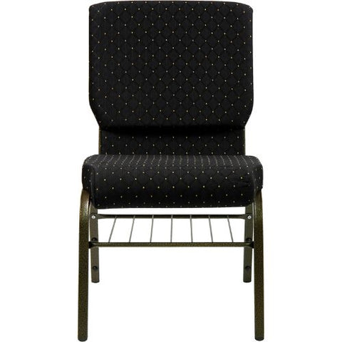 Flash Furniture HERCULES Series 18.5''W Church Chair in Black Dot Patterned Fabric with Book Rack - Gold Vein Frame XUCH60096BKBASGG ; Image 4 ; UPC 812581012637