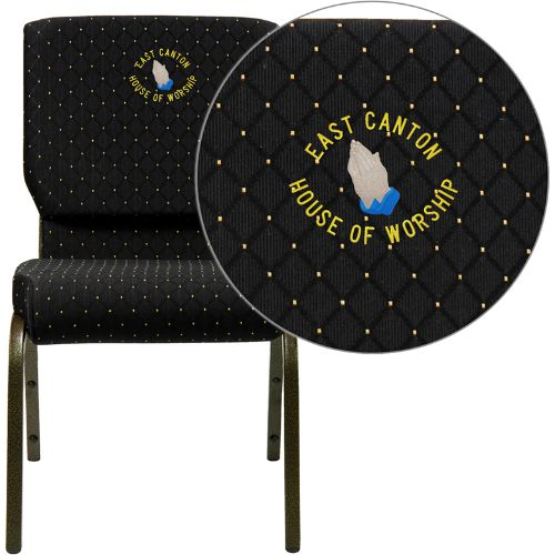 Flash Furniture Embroidered HERCULES Series 18.5''W Stacking Church Chair in Black Dot Patterned Fabric - Gold Vein Frame XUCH60096BKEMBGG ; Image 1 ; UPC 847254050630