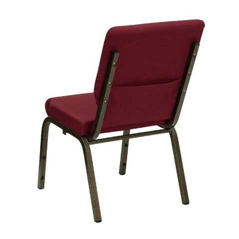 Flash Furniture HERCULES Series 18.5''W Stacking Church Chair in Burgundy Fabric - Gold Vein Frame XUCH60096BYGG ; Image 3 ; UPC 812581012682