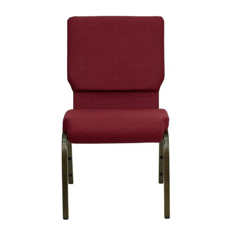 Flash Furniture HERCULES Series 18.5''W Stacking Church Chair in Burgundy Fabric - Gold Vein Frame XUCH60096BYGG ; Image 4 ; UPC 812581012682