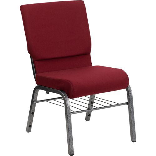 Flash Furniture HERCULES Series 18.5''W Church Chair in Burgundy Fabric with Book Rack - Silver Vein Frame XUCH60096BYSILVBASGG ; Image 1 ; UPC 847254033015