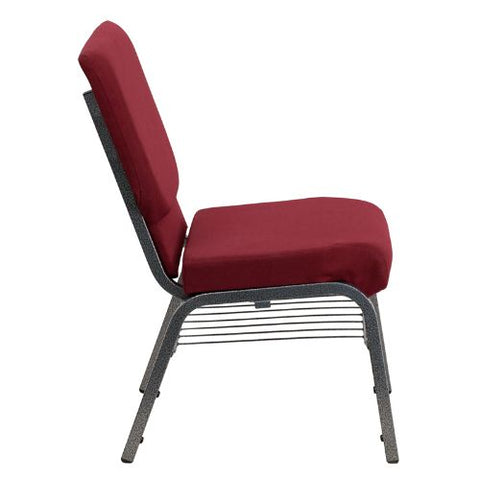 Flash Furniture HERCULES Series 18.5''W Church Chair in Burgundy Fabric with Book Rack - Silver Vein Frame XUCH60096BYSILVBASGG ; Image 2 ; UPC 847254033015