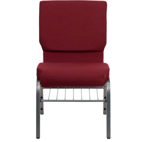 Flash Furniture HERCULES Series 18.5''W Church Chair in Burgundy Fabric with Book Rack - Silver Vein Frame XUCH60096BYSILVBASGG ; Image 4 ; UPC 847254033015