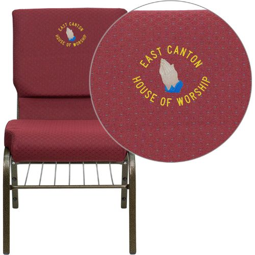 Flash Furniture Embroidered HERCULES Series 18.5''W Church Chair in Burgundy Patterned Fabric with Book Rack - Gold Vein Frame XUCH60096BYXY56BASEMBGG ; Image 1 ; UPC 847254050128