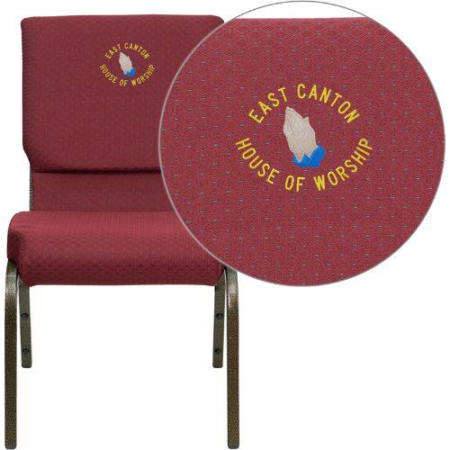 Flash Furniture Embroidered HERCULES Series 18.5''W Stacking Church Chair in Burgundy Patterned Fabric - Gold Vein Frame XUCH60096BYXY56EMBGG ; Image 1 ; UPC 847254050135
