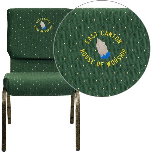 Flash Furniture Embroidered HERCULES Series 18.5''W Stacking Church Chair in Green Patterned Fabric - Gold Vein Frame XUCH60096GNEMBGG ; Image 1 ; UPC 847254050159
