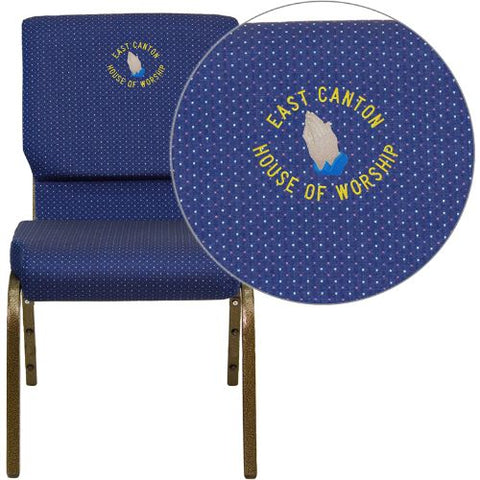 Flash Furniture Embroidered HERCULES Series 18.5''W Stacking Church Chair in Navy Blue Patterned Fabric - Gold Vein Frame XUCH60096NVYDOTEMBGG ; Image 1 ; UPC 847254050050