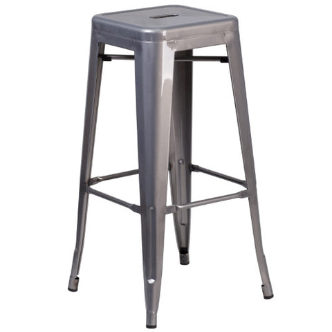 Flash Furniture 30'' High Backless Clear Coated Metal Indoor Barstool with Square Seat XUDGTP000430GG ; Image 1 ; UPC 889142087328