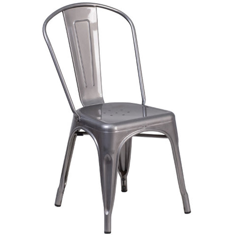 Flash Furniture Clear Coated Metal Indoor Stackable Chair XUDGTP001GG ; Image 1 ; UPC 889142087304