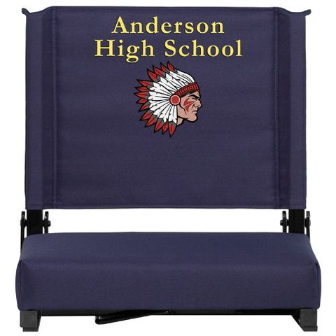 Flash Furniture Embroidered Grandstand Comfort Seats by Flash with Ultra-Padded Seat in Navy XUSTANVYEMBGG ; Image 1 ; UPC 889142048596