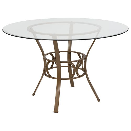 Flash Furniture Carlisle 48'' Round Glass Dining Table with Matte Gold Metal Frame XUTBG1GG ; Image 1 ; UPC 889142257653
