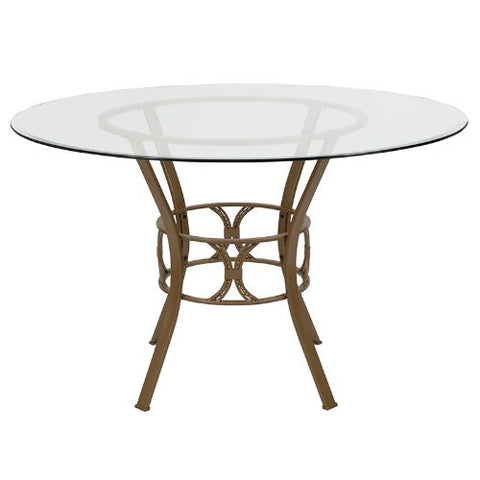 Flash Furniture Carlisle 48'' Round Glass Dining Table with Matte Gold Metal Frame XUTBG1GG ; Image 2 ; UPC 889142257653