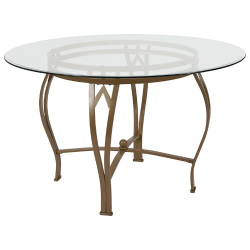 Flash Furniture Syracuse 48'' Round Glass Dining Table with Matte Gold Metal Frame XUTBG7GG ; Image 1 ; UPC 889142257745