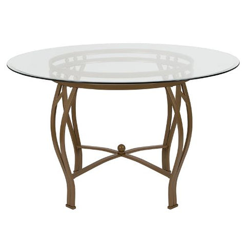 Flash Furniture Syracuse 48'' Round Glass Dining Table with Matte Gold Metal Frame XUTBG7GG ; Image 2 ; UPC 889142257745