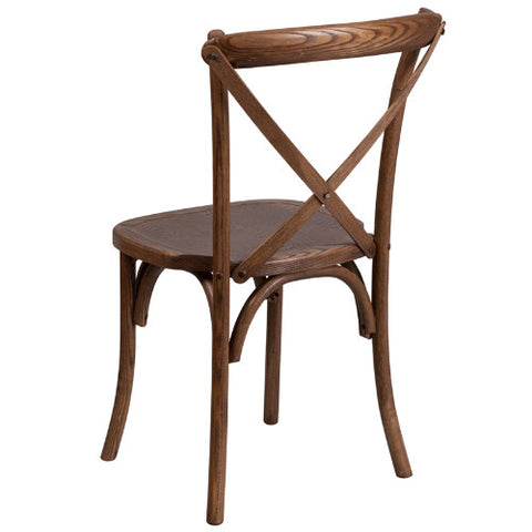 Flash Furniture HERCULES Series Stackable Pecan Wood Cross Back Chair XUXPECGG ; Image 3 ; UPC 889142092216