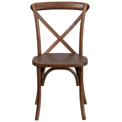 Flash Furniture HERCULES Series Stackable Pecan Wood Cross Back Chair XUXPECGG ; Image 4 ; UPC 889142092216