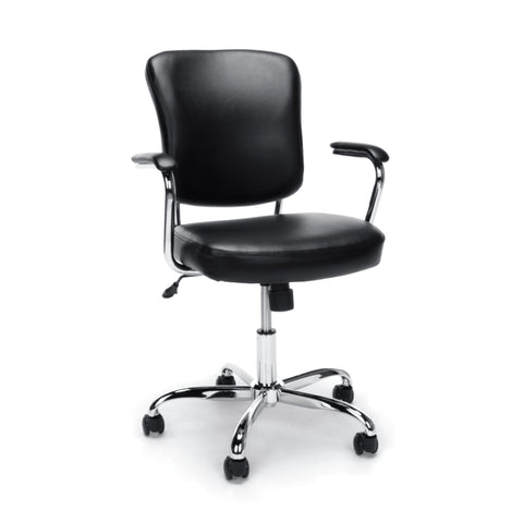 Essentials by OFM ESS-6080 Swivel Mid Back Bonded Leather Task Chair with Chrome Base, Black ; UPC: 089191014348 ; Image 1