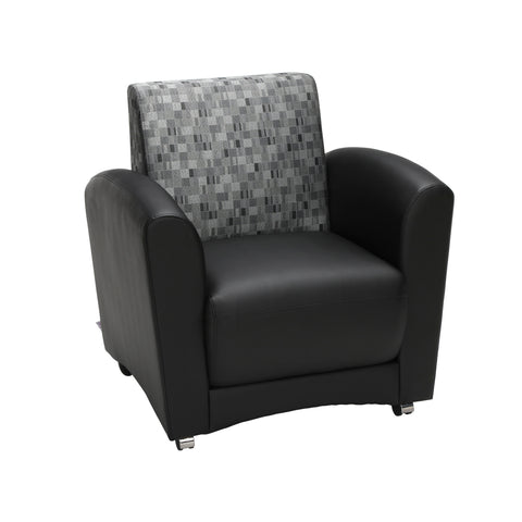 OFM InterPlay Series Single Seat Chair, in Nickel/Black (821-NCKL-PU606NT) ; UPC: 845123040690 ; Image 1
