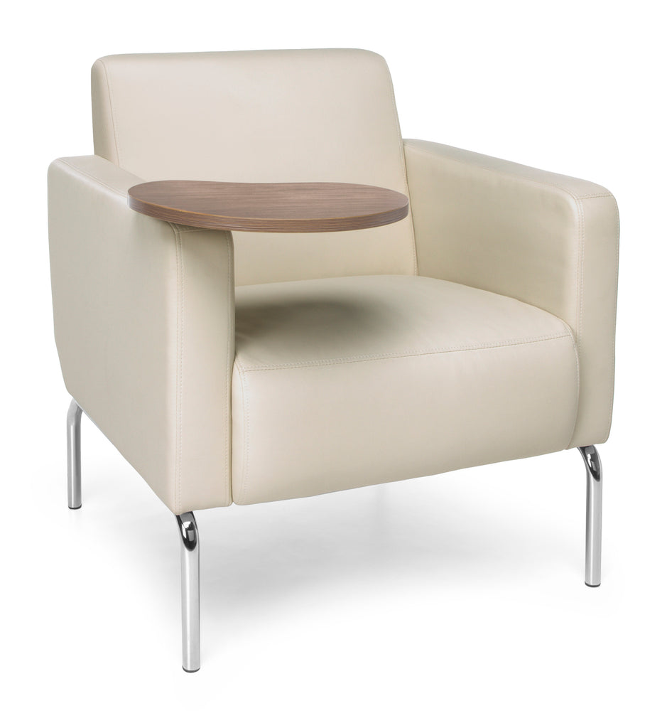 OFM Triumph Series Model 3002T Polyurethane Modular Lounge Chair with Arms and Bronze Tablet, Cream ; UPC: 845123029909 ; Image 1