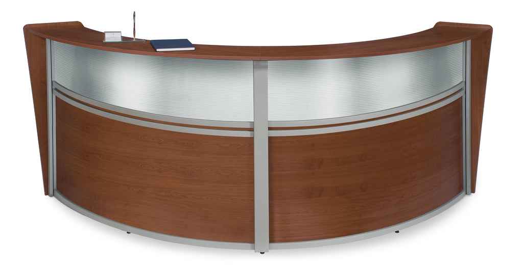 OFM Marque Series Model 55312 Double Unit Plexi Reception Station, Cherry with Silver Frame ; UPC: 845123030660 ; Image 1