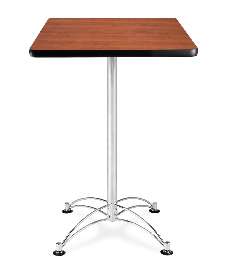 "OFM Model CCLT24SQ 24"" Square Cafe Height Table, Cherry with Chrome Base ; UPC: 845123006320 ; Image 1"