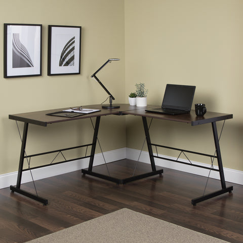 "OFM Essentials Collection 60"" Metal Frame L-Shaped Desk, Corner Computer Desk, in Wenge (ESS-1021 -BLK-WEN) ; UPC: 192767000086 ; Image 13"