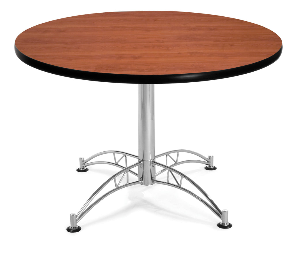 "OFM Model LT42RD 42"" Multi-Purpose Round Table with Chrome-Plated Steel Base, Cherry ; UPC: 811588017690 ; Image 1"