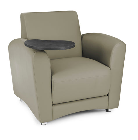 OFM InterPlay Series Upholstered Guest / Reception Chair, Taupe, Tungsten Tablet ; UPC: 845123030974 ; Image 1