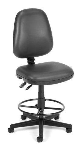 OFM Straton Series Model 119-VAM-DK Armless Swivel Task Chair with Drafting Kit, Anti-Microbial Vinyl, Charcoal ; UPC: 845123011546 ; Image 1
