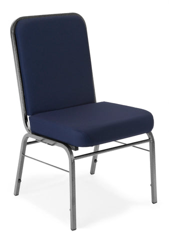 OFM Comfort Class Series Model 300-SV Fabric Stack Chair with Silver Vein Frame, Navy ; UPC: 811588013401 ; Image 1
