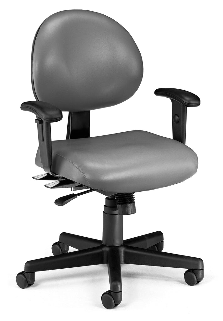 OFM Model 241-VAM-AA 24 Hour Ergonomic Task Chair with Arms, Anti-Microbial/Anti-Bacterial Vinyl, Mid Back, Charcoal ; UPC: 845123012406 ; Image 1