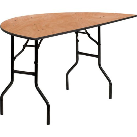 Flash Furniture 60'' Half-Round Wood Folding Banquet Table YTWHRFT60HFGG ; Image 1 ; UPC 847254048804