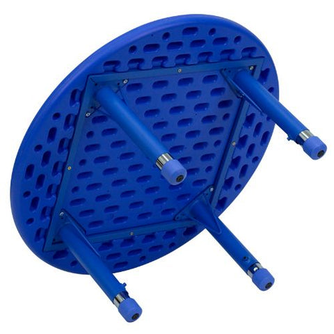 Flash Furniture 33'' Round Blue Plastic Height Adjustable Activity Table YUYCX0072ROUNDTBLBLUEGG ; Image 2 ; UPC 847254039048
