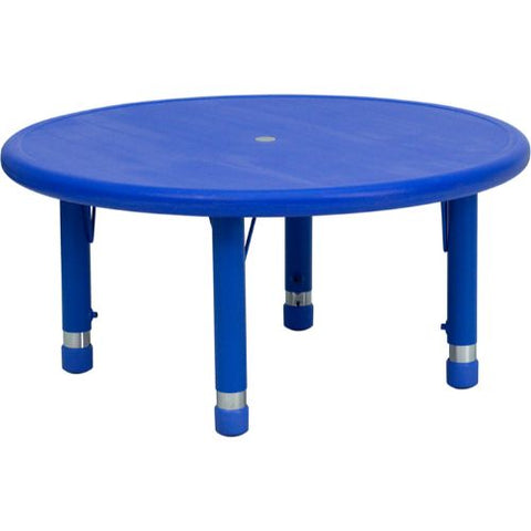 Flash Furniture 33'' Round Blue Plastic Height Adjustable Activity Table YUYCX0072ROUNDTBLBLUEGG ; Image 1 ; UPC 847254039048