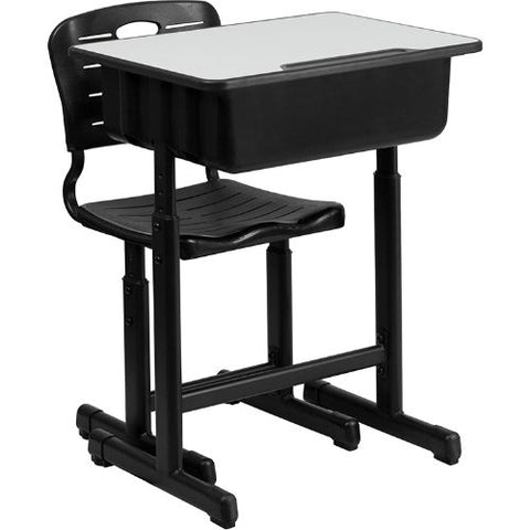 Adjustable Height Student Desk and Chair with Black Pedestal Frame ; UPC: 847254082235 ; View 1
