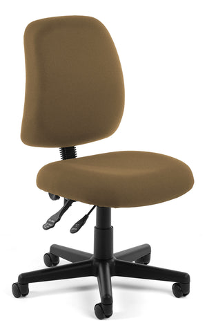 OFM Posture Series Model 118-2 Armless Swivel Task Chair, Fabric, Mid Back, Taupe ; UPC: 811588012602 ; Image 1