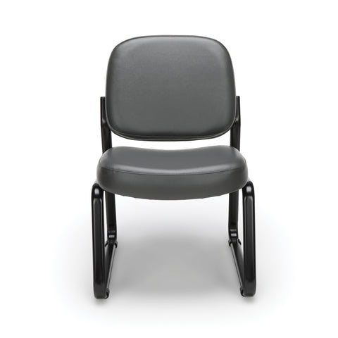 OFM Model 405-VAM Armless Guest and Reception Chair, Anti-Microbial/Anti-Bacterial Vinyl, Charcoal ; UPC: 811588014347 ; Image 2