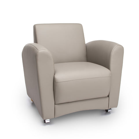 OFM InterPlay Series Upholstered Guest / Reception Chair, Taupe ; UPC: 845123040744 ; Image 1