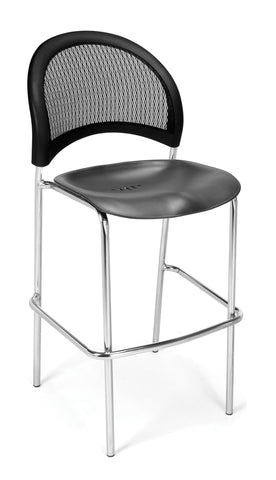OFM 338C-P-BLK Moon Cafe Height Plastic Chrome Chair, Black ; UPC: 845123021613 ; Image 1