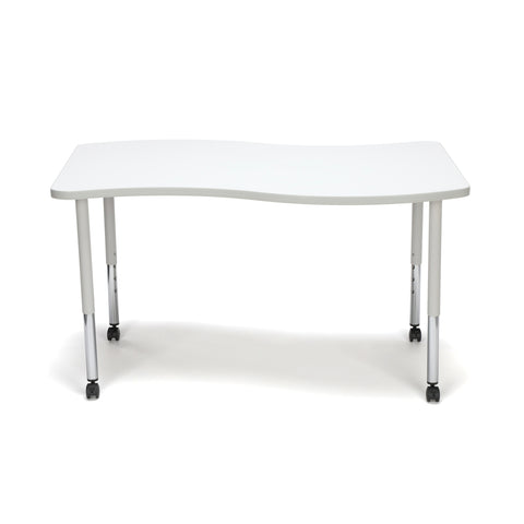 OFM Adapt Series Large Wave Standard Table - 25-33? Height Adjustable Desk with Casters, White (WAVE-L-LLC) ; UPC: 845123096178 ; Image 3
