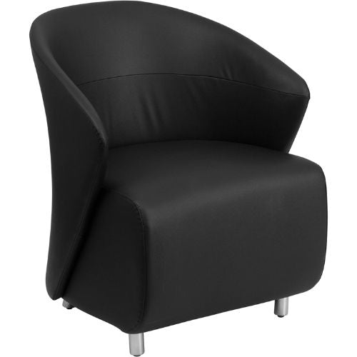 Flash Furniture Black Leather Curved Barrel Back Lounge Chair ZB1GG ; Image 1 ; UPC 847254099530