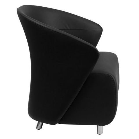 Flash Furniture Black Leather Curved Barrel Back Lounge Chair ZB1GG ; Image 2 ; UPC 847254099530
