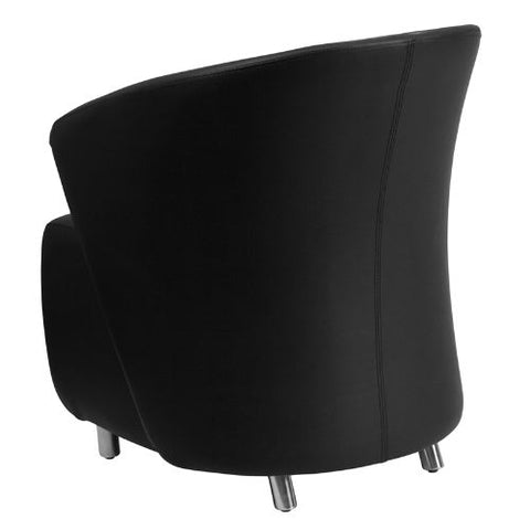 Flash Furniture Black Leather Curved Barrel Back Lounge Chair ZB1GG ; Image 3 ; UPC 847254099530