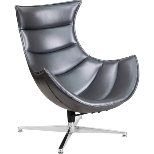 Flash Furniture Gray Leather Swivel Cocoon Chair ZB37GG ; Image 1 ; UPC 889142047858